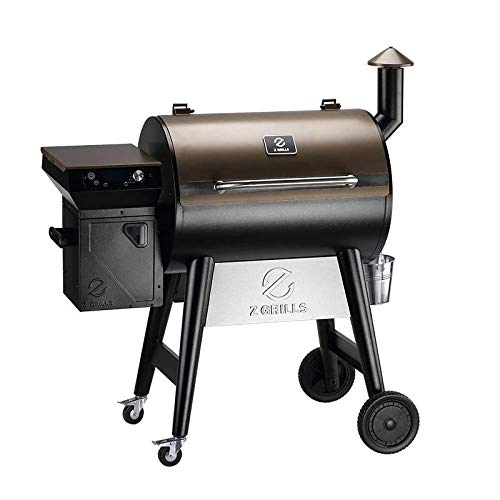 Z GRILLS ZPG-7002F 2021 Upgrade Wood Pellet Grill & Smoker, 8 in 1 BBQ Grill with PID Controller, Meat Probes, Hopper Clean-Out & Pellet View Window, inch Cooking Area, 700 sq in Bronze