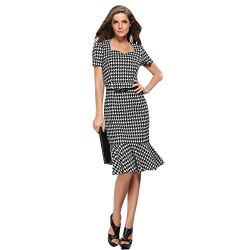 YCQUE Womens Elegant Casual Vintage Slim Fit Sexy Hahnentritt Bodycon Business Arbeit Cocktailparty Promi Bleistift Kurzarm Kleid Fischschwanz