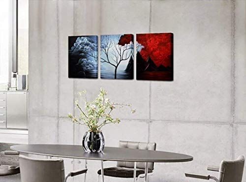 Santin Art- Modern Abstract Painting the Cloud Tree High Q. Wall Decor Landscape Paintings on Canvas 12x16inch 3pcs Stretched and Framed Ready to Hang