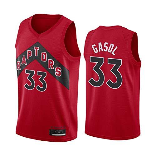 Ropa de Baloncesto para Hombre Raptors 33# Gasol New Bordado de Moda sin Mangas Chaleco Camiseta Unisex,S