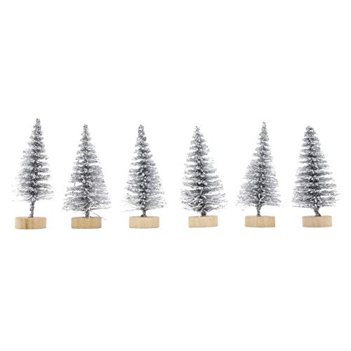 Christmas Cake Topper Tree Decoration Yule Log Cupcake Toppers Silver Fir Trees Pack of 6