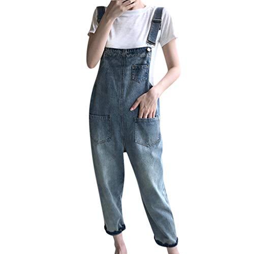 STRIR Mujer Pantalon Mono Peto Vaquero Largo Pantalones Jeans Anchos Baggy Palazzo Casual Elegante Suelto...
