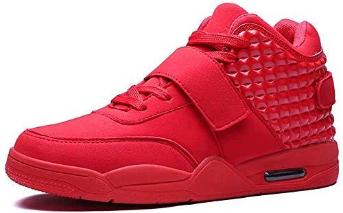 Hombres s Botas De Baloncesto De Alta Parte Superior De La Moda Zapatillas De Deporte Al Aire Libre Zapatos Ligero Transpirable Correr Casual Entrenadores-39_Rojo iteración