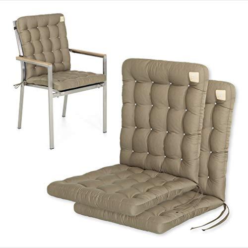 HAVE A SEAT Luxury | Gartenstuhlauflagen - Niedriglehner Polster Auflage, waschbar bei 95°C, Trockner geeignet, Sitzauflage für Gartenstuhl (2er Set - 100x48 cm, Goldbraun)