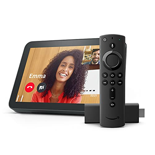 Echo Show 8, Charcoal fabric with Fire TV Stick