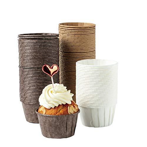 katbite Papier Muffinförmchen, 150 Stück Mini Cupcake Formen für Hochzeit, Geburtstag, Party, Einweg Backbecher in Weiß, Braun, Dunkelbraun