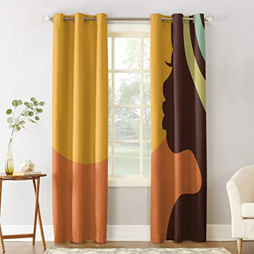 Beauty Decor Polyester Fabric Curtains African Women Privacy Window Curtains Set for Living Room Bedroom 2 Panels 27.5x39 inch - Teenage Girl Pretty Face Profile
