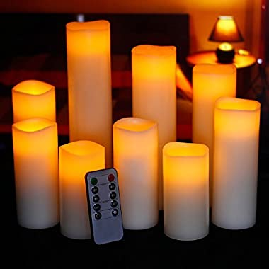 Ry-king 4  5  6  7  8  9  Pillar Flickering Flameless LED Candles with 10-key Remote Timer, Set of 9