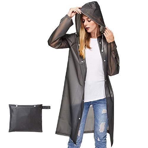QUCHENG Clear EVA Raincoat Women Ponchos Imperméables Imperméables Longs Vêtements de Pluie Remballables réutilisables (Black L)