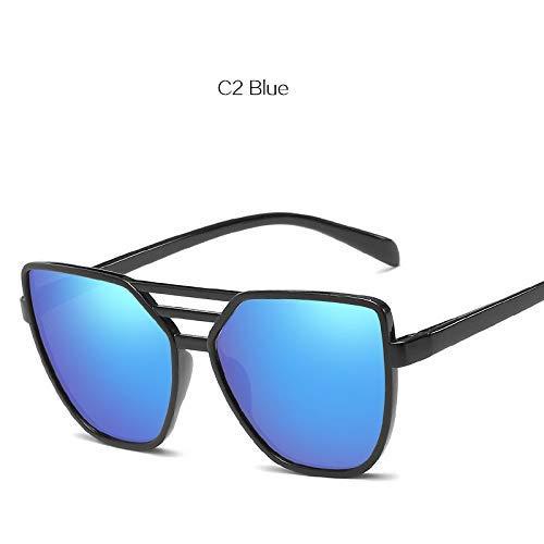 ZHAS High-End-Brillen Sonnenbrillen Damen Shades Sonnenbrillen Damen Color Film Reflective Brillen Damen Retro Kunststoff Brillen Personalisierte High-End-Sonnenbrillen Schwarz Blau