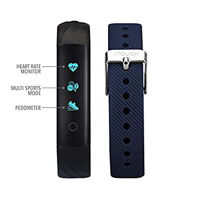 iTouch Slim Waterproof Fitness Activity Tracker, Heart Rate Monitor, Multi-Sports Mode, Pedometer, for Android and iOS Smartphones, Comes with Interchangeable Straps (Black/Navy)
