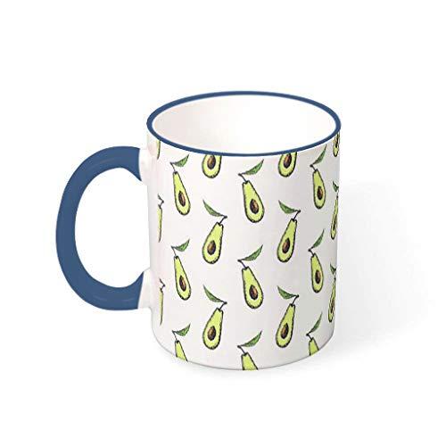 O2ECH-8 11 oz Avocado Mischen Tee Becher mit Griff Glatte Keramik Unique Becher Tasse - Grün Klassenkamerad Gegenwart, für Wohnheim verwenden Midnight Blue 330ml