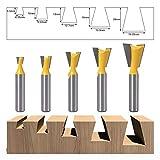 Paquete de 5 brocas de 8 mm con vástago de cola de milano de 14 grados, cortador de fresado para carpintería 1/4' 1/8' 5/8' 3/4' 9/16'