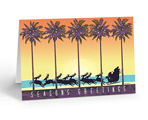 Tropical Theme Christmas Card - 18Boxed Beach Holiday Cards & 19 Envelopes - Tropical Sunset