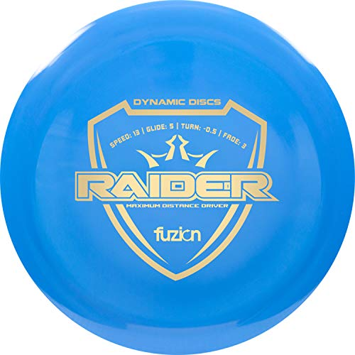 Dynamic Discs Fuzion Raider Disc Golf Driver | 170g Plus | Maximum Distance Frisbee Golf Driver | Stamp Color Will Vary (Blue)