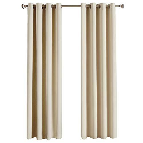 Rose Home Fashion RHF - Cortinas opacas térmicas aislantes, cortinas opacas, cortinas opacas para dormitorio o sala de estar, beige, 140 by 245 cm-2