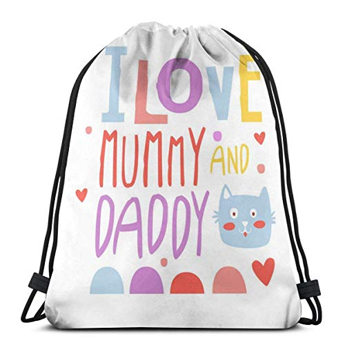 I Love Mummy and Daddy Cute Cartoon Colorido Cordón Bapa Original Bolsas para Gimnasio Senderismo Viajes Playa