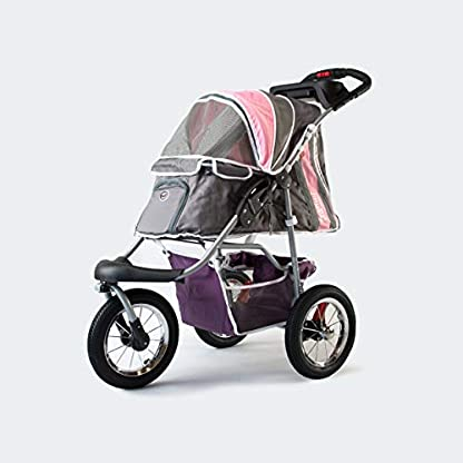 Pet Stroller,IPS-040,Grey/Pink/Lila, dog carrier, trolley, Trailer, Innopet, Buggy Comfort with Airfilled Tyres. Foldable pet buggy, pushchair, pram for dogs and cats 1