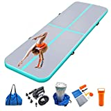 Milazul 10ft Inflatable Gymnastics Mat Tumbling Mats Thickness 4 inches for Home Use/Gym/Yoga/Training/Cheerleading/Outdoor/Beach/Park/Water/Kid with Electric Air Pump Carry Bag