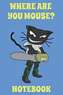 Where Are You Mouse? - Notebook - Chainsaw - Blue - Yellow - College Ruled (Humor)