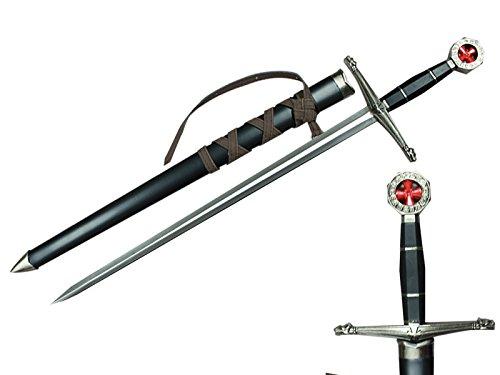Prince Sword with Sheath,Crusader Knight Templar Short Sword - Historical Reproduction, Cast Metal Handle (Black)