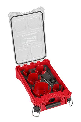 Milwaukee 49-56-9295 BIG HAWG Carbide Hole Saw (2-1/8, 2-9/16, 3, 3-5/8, 4-5/8 Inches) Kit (9-Piece) with PACKOUT Case