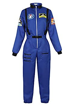 Famajia Womens Astronaut Costume Spacewoman Jumpsuit Fancy Cosplay Dress Up Costumes Galaxy Girl Moon Walk Costumes Blue Large