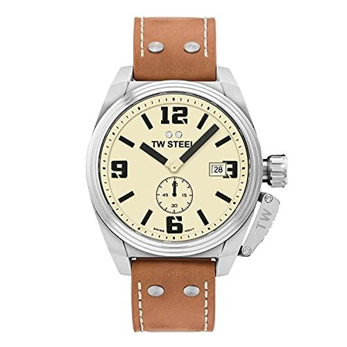 TW Steel Reloj Analógico para Mujer de con Correa en Cuero TW1000