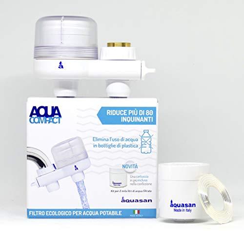 AQUASAN Aquacompact - Kit de 2000 litros – Filtro de grifo antical con 2 cartuchos, purificador de agua potable del grifo, reduce microplásticos, elimina el sabor y el olor – Patente antibacteriana