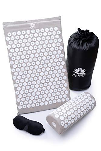 Ay MATi Akupressur-Set - Akupressurmatte mit Kissen zum Lösen von Verspannungen, Rückenschmerzen oder Blockaden + Augenmaske für komfortable Entspannung, mit Tragetasche (Grau)