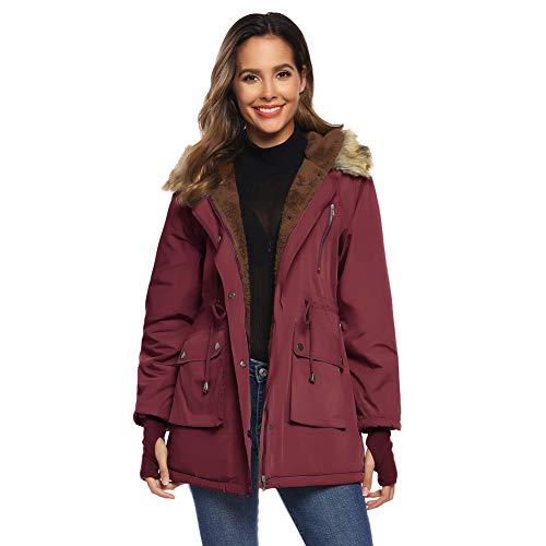 GRACE KARIN Damen Elegant Winterjacke Verdickt Warm Outwear Hooded Fleece Parka mit Taschen S Wein CLW02014-4