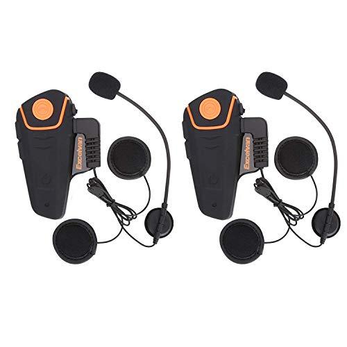 Excelvan 2×Auriculares Intercomunicador Bluetooth para Motocicleta Casco Moto Intercom Headset 1000M Radio FM Intercomunicación Entre 3 Motociclistas