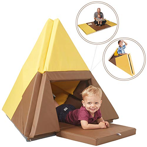ECR4Kids Tent Canoe and Tumbler Too - Unique Transforming Activity Play Mat for Toddlers and Kids, Chocolate/Yellow
