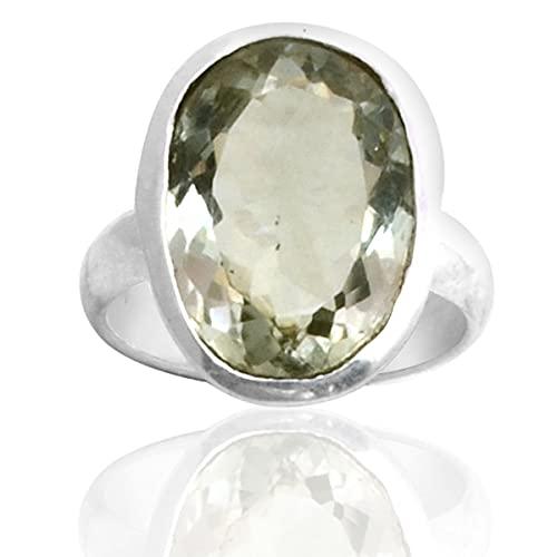 Silver Palace Anillo de plata de ley 925 de amatista verde natural para mujeres y niñas