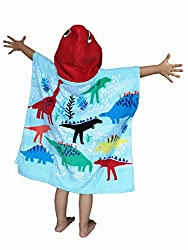 2. ATHAELAY Kids Hooded Dinosaur Poncho Towel