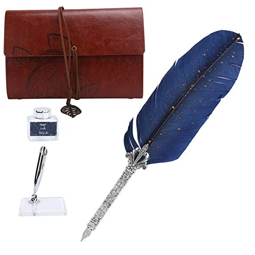 Juego de bolígrafos de imitación de cuero, juego de bolígrafos acrílicos para inmersión, kit de(SP236933 Sprinkled Gold and Navy (Silver Box))