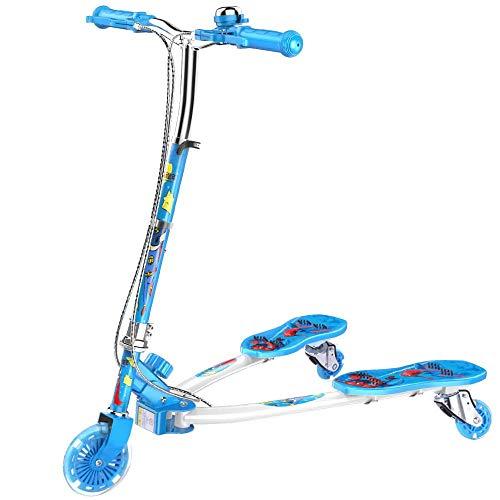 CYGJ Kohlenstoffstahl Einstellbar 3﹘Rad Sprite Scooter mit LED Rollen,Blau Faltbar Tretroller für Kinder Kick...