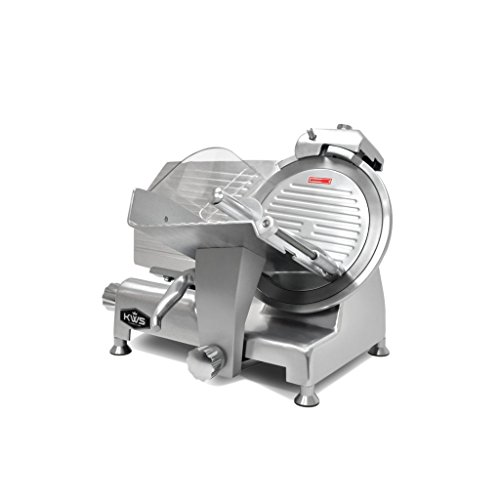 KWS Metal Collection Commercial 420W 12 Inches Meat Slicer MS-12DS Anodized Aluminum Base with Stainless Steel Blade + Blade Removal Tool, Frozen Meat/ Cheese/ Food Slicer Low Noises Commercial and Home Use