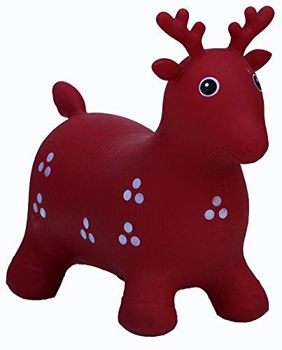 HAPPY GIAMPY Daino Gioco Gonfiabile Cavalcabile per Bambini - Colore Rosso