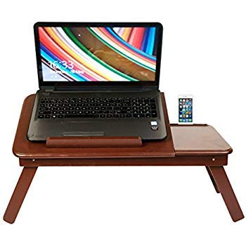 aaRF wooden Laptop Table with Mobile Holder & Drawer/Multipurpose/Foldable/Study Table- brown