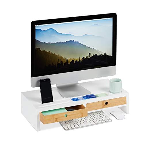 Relaxdays monitorstandaard, 2 laden, PC verhoging voor bureau, bamboe & MDF, h x b x d: 12 x 55,5 x 27 cm, wit/natuur