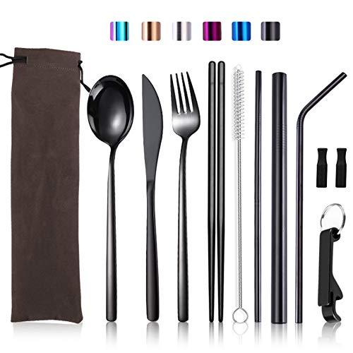 Set di utensili da viaggio con custodia portatile in acciaio inox posate riutilizzabili per 1 pezzo, coltello, forchetta, cucchiaio, bacchette, cannuccia, apribottiglie (10 pezzi) nero