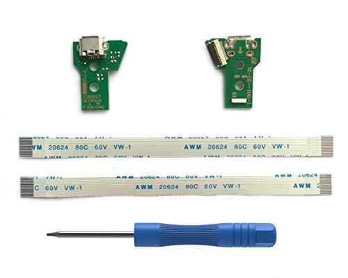 2PCs JDS-040 Replacement Placa Controlador Conectores de Carga Micro USB para Mando PS4, Tarjeta Micro del Cargador de Batería del USB Parte Adaptador, Flex Cable - PlayStation DualShock Controller