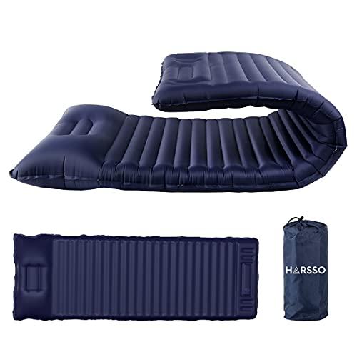 Harsso Matelas Gonflable Camping avec Pompe à Pied, Tapis de Couchage avec Oreiller de Couchage D'air Ultraléger pour Voyages, Randonnée, Plage(Bleu Royal)