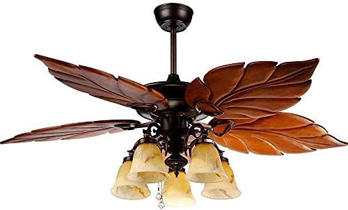 OCCMFZD Luz De Ventilador De Techo Estilo Europeo Chandelier Ventilador De Techo Inteligente Frecuencia De La Luz Conversión LED Luz De Ventilador 52in Luz De Ventilador De Techo (con Control Remoto)