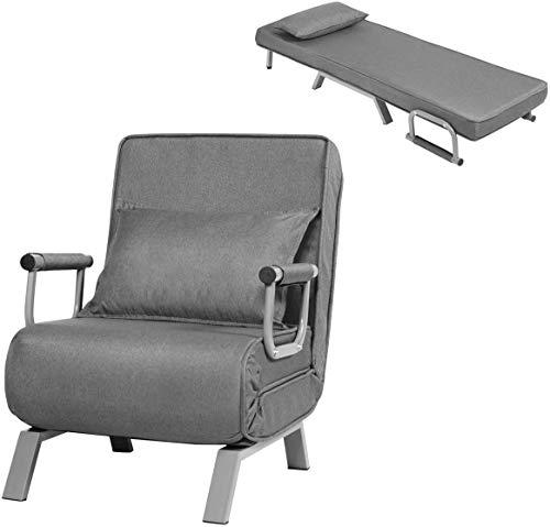RELAX4LIFE Schlafsofa mit Bettfunktion klappbar,150 kg ertragender Schlafsessel, 2 in 1 Schlafsessel inkl. Kopfkissen, Bettsessel mit fünf Stufen verstellbare, Rückenlehne für Wohnzimmer (Grau)