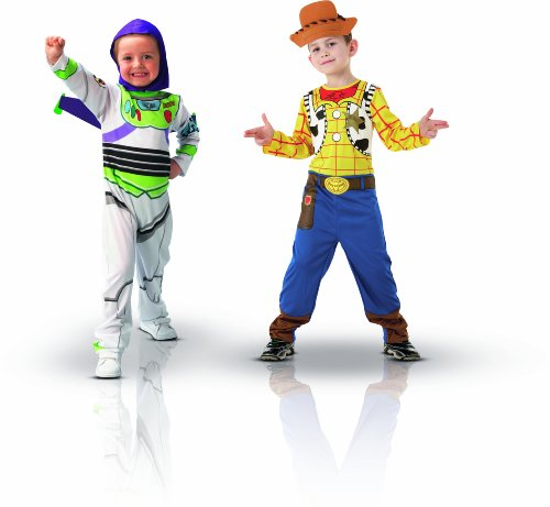 Disney I-5400 - Set de 2 disfraces infantiles y 2 máscaras (Buzz Lightyear y Woody, 4-6 años)