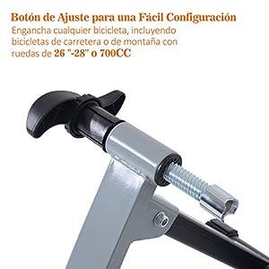 Rodillo Entrenamiento Bicicleta 5 Niveles de Resistencia por Cable Cicloentrenador Acero Bici Color Plata