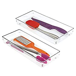 Kitchen organization products including clear drawer organizers.