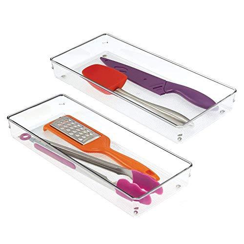 InterDesign Linus Organizador de cajones, cubertero para cajones de cocina grande en plástico, juego de 2 cuberteros para cajón, transparente